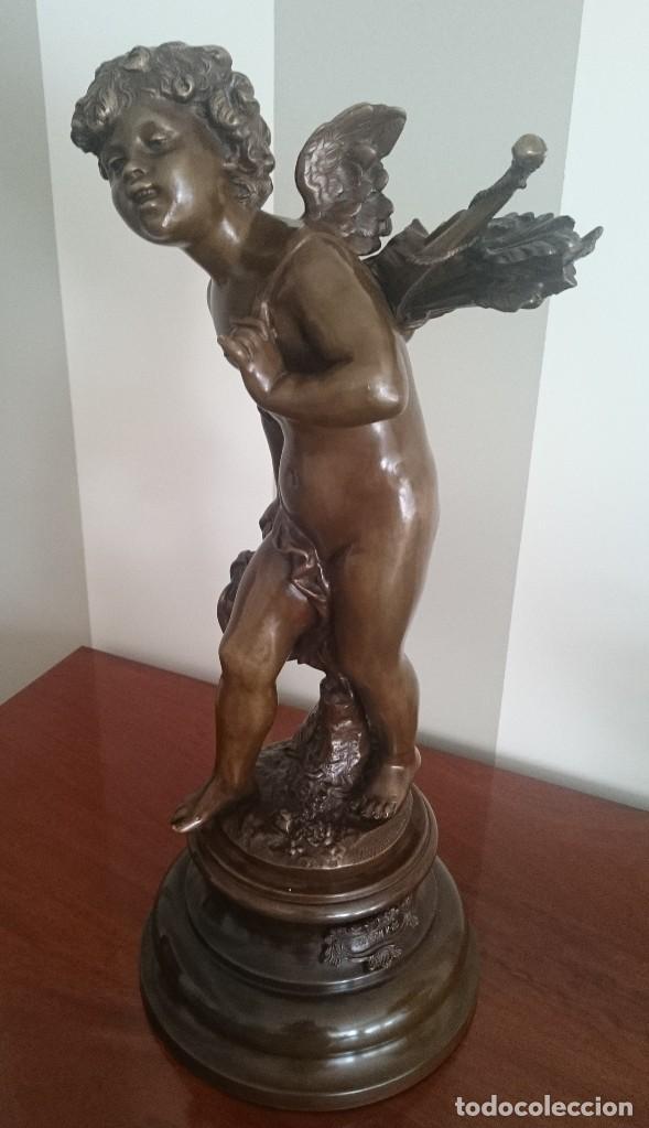 Arte: AUGUSTE MOREAU (1837-1917), ESCULTURA FRANCESA ART NOVEAU, SIGLO XIX, ÁNGEL CUPIDO FIRMADA - Foto 2 - 206302383