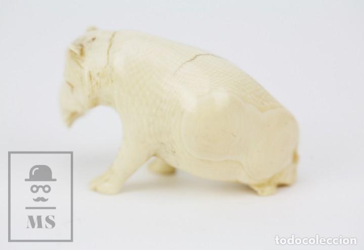 Arte: Figurita / Esculturilla de Marfil o Hueso Tallado - Animal / Hipopótamo ? - Medidas 6,5 x 3 x 4 cm - Foto 6 - 131989602