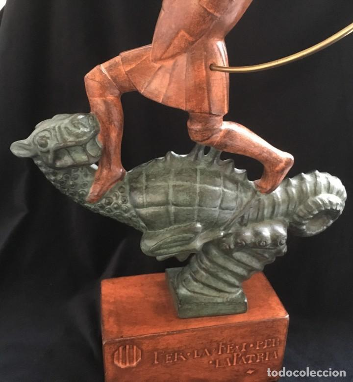 Arte: ESPECTACULAR escultura SAN JORGE Y EL DRAGON DE FIDEL AGUILAR MARCÓ (1894-1917) SANT JORDI - Foto 3 - 132073274