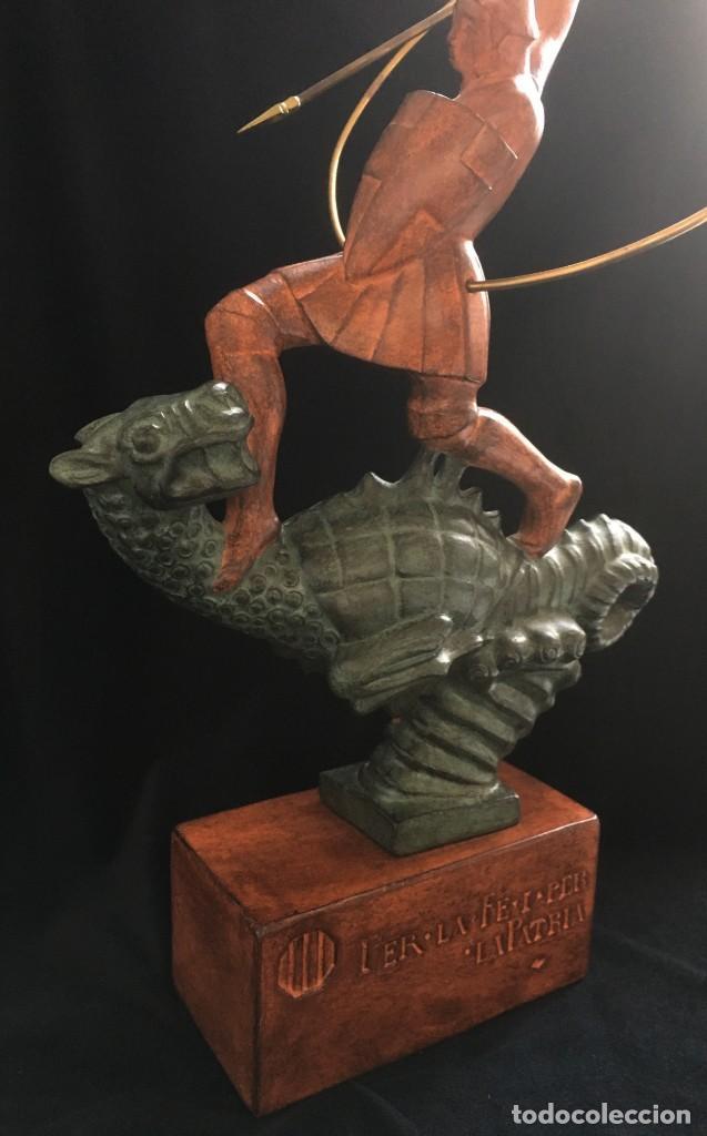 Arte: ESPECTACULAR escultura SAN JORGE Y EL DRAGON DE FIDEL AGUILAR MARCÓ (1894-1917) SANT JORDI - Foto 4 - 132073274