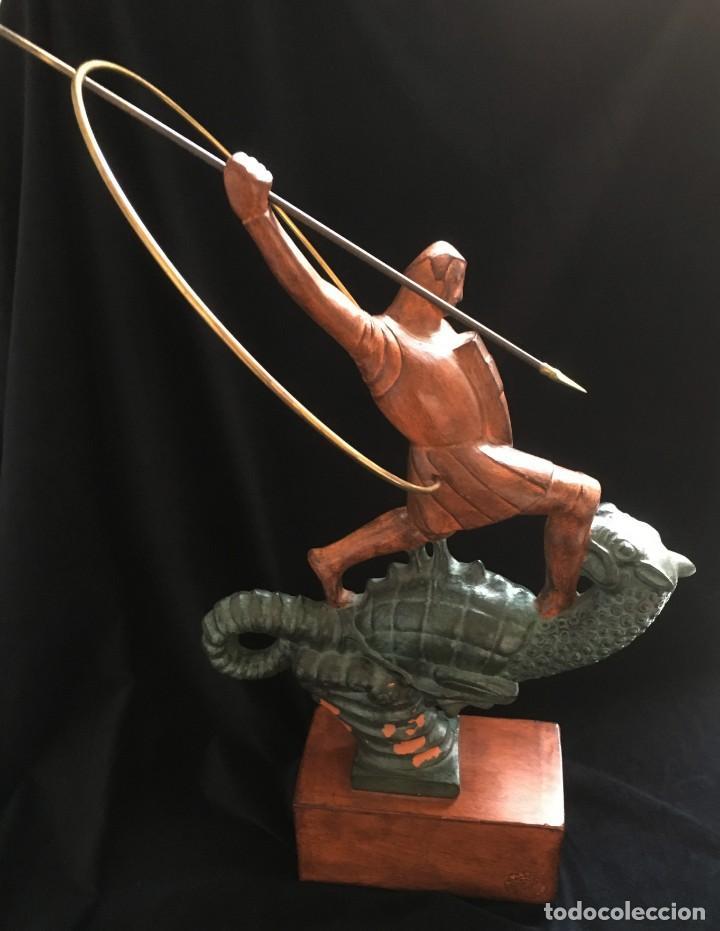 Arte: ESPECTACULAR escultura SAN JORGE Y EL DRAGON DE FIDEL AGUILAR MARCÓ (1894-1917) SANT JORDI - Foto 5 - 132073274