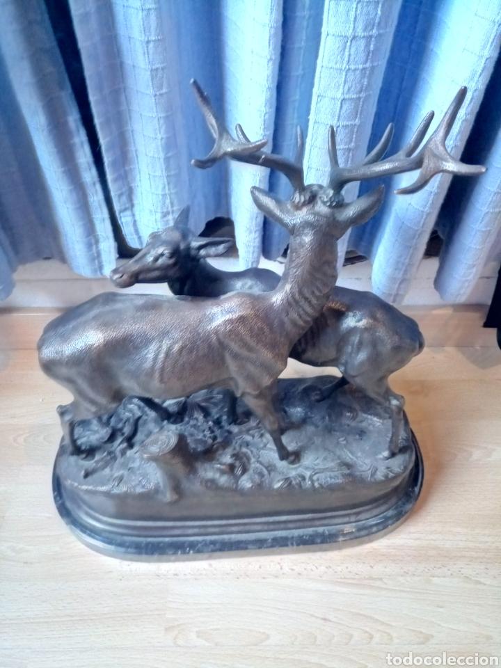 Arte: Escultura en bronce de dos ciervos de Piere Jules Mene firmada - Foto 2 - 132170929