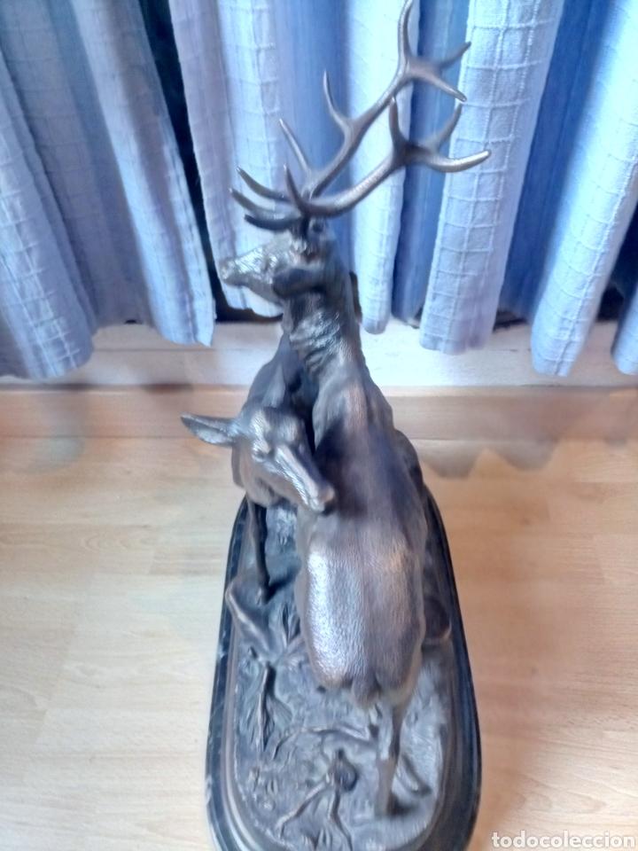 Arte: Escultura en bronce de dos ciervos de Piere Jules Mene firmada - Foto 3 - 132170929