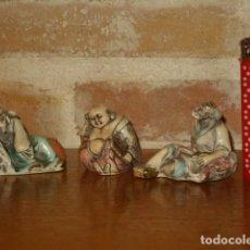 Arte: LOTE DE FIGURAS ORIENTALES EN HUESO POLICROMADO,PINTADAS A MAÑO.MADE IN ITALY.. Lote 132217298