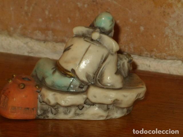 Arte: LOTE DE FIGURAS ORIENTALES EN HUESO POLICROMADO,PINTADAS A MAÑO.MADE IN ITALY. - Foto 9 - 132217298