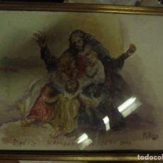 Arte: MANUEL REIG ACUARELA PINTOR DE ALICANTE NACIMIENTO DE BELEN JESUS TITULADO FELIZ NAVIDAD AÑO NUEVO. Lote 132281534