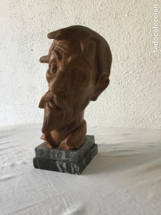 Arte: BUSTO DE DON QUIJOTE DE LA MANCHA DE TERRACOTA SOBRE BASE DE MÁRMOL 1950'S. - Foto 3 - 133280126