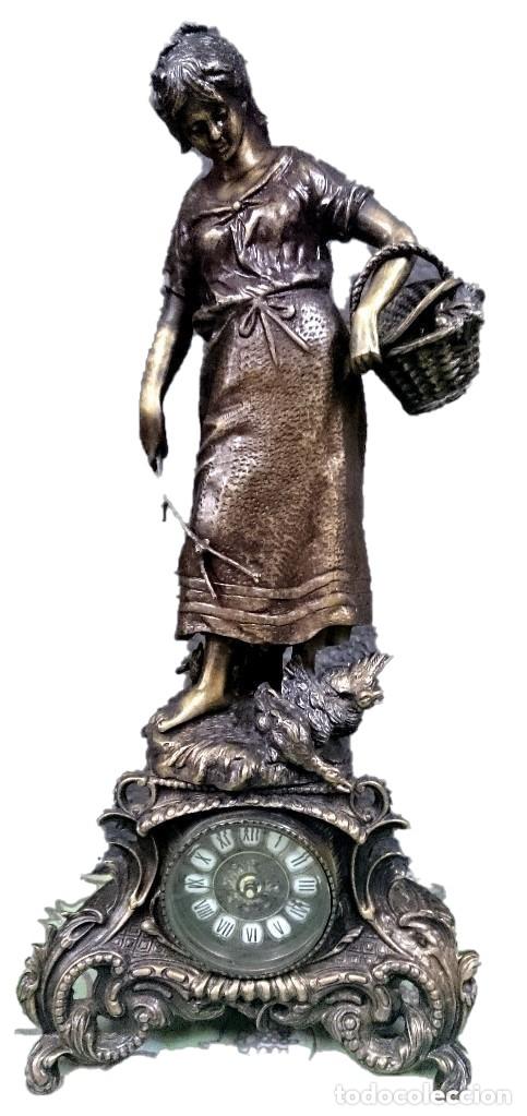 Arte: Antiguo reloj, escultura ,figura, de bronce macizo, modernista. 65x30x22cm Marcel Début - Foto 6 - 121351295