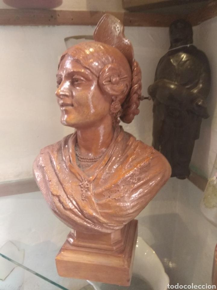 Arte: Busto Valenciana Terracota - Antonio Cortina Farinos 1889 - Firmado y Dedicado - Foto 3 - 133854189