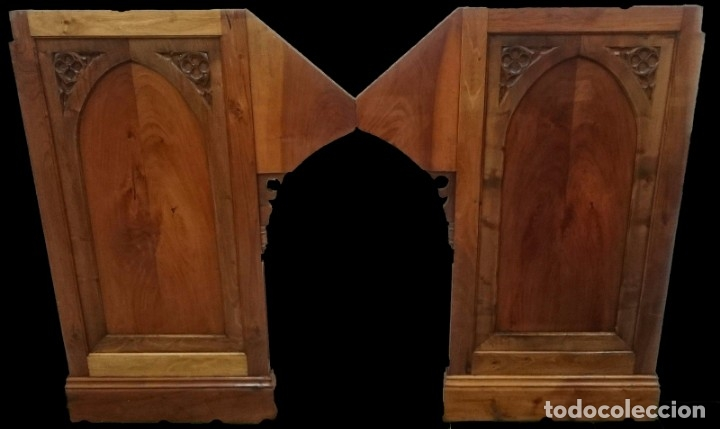 Arte: Antigua pareja de puertas, tablas neogóticas de madera de nogal rubio. Restauradas. Siglo XIX. - Foto 3 - 121239023