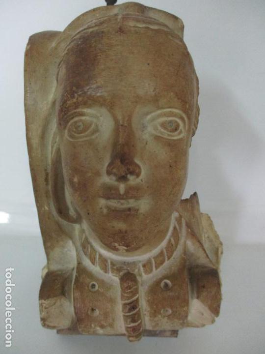 BONITA CARIATIDE GÓTICA - CATALUÑA - ESCULTURA, BUSTO - DAMA EDAD MEDIA -TERRACOTA - S. XV-XVI (Arte - Escultura - Terracota )