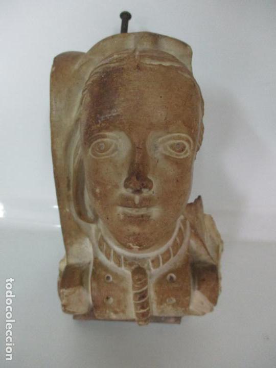Arte: Bonita Cariatide Gótica - Cataluña - Escultura, Busto - Dama Edad Media -Terracota - S. XV-XVI - Foto 2 - 134771014