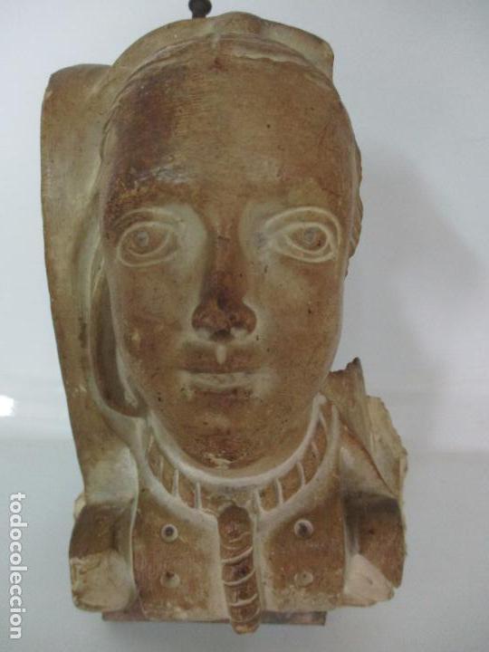 Arte: Bonita Cariatide Gótica - Cataluña - Escultura, Busto - Dama Edad Media -Terracota - S. XV-XVI - Foto 3 - 134771014