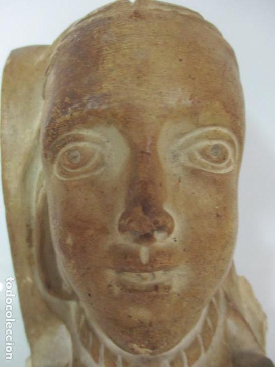 Arte: Bonita Cariatide Gótica - Cataluña - Escultura, Busto - Dama Edad Media -Terracota - S. XV-XVI - Foto 4 - 134771014