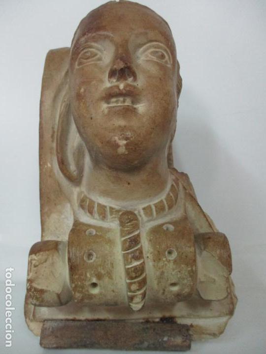 Arte: Bonita Cariatide Gótica - Cataluña - Escultura, Busto - Dama Edad Media -Terracota - S. XV-XVI - Foto 5 - 134771014