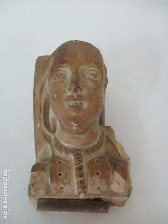 Arte: Bonita Cariatide Gótica - Cataluña - Escultura, Busto - Dama Edad Media -Terracota - S. XV-XVI - Foto 7 - 134771014