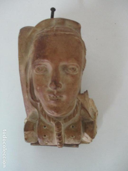 Arte: Bonita Cariatide Gótica - Cataluña - Escultura, Busto - Dama Edad Media -Terracota - S. XV-XVI - Foto 9 - 134771014