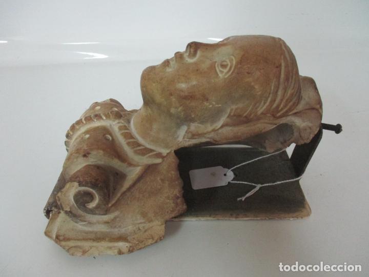 Arte: Bonita Cariatide Gótica - Cataluña - Escultura, Busto - Dama Edad Media -Terracota - S. XV-XVI - Foto 12 - 134771014