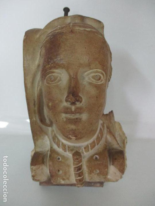 Arte: Bonita Cariatide Gótica - Cataluña - Escultura, Busto - Dama Edad Media -Terracota - S. XV-XVI - Foto 19 - 134771014