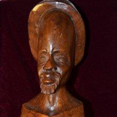 Arte: BUSTO HOMBRE AFRICANO AÑOS 60 MADERA TALLADA A MANO. Lote 134979590