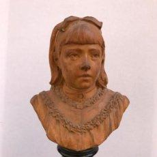 Arte: ALPHONSE I VAN BEURDEN (1854-1938) - BUSTO DE NIÑA CON LACITO EN TERRACOTA MODELADA - BÉLGICA - SEPT. Lote 135139206