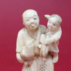Arte: ANTIGUA TALLA DE MARFIL JAPONESA - FIRMADA - FINALES S.XIX- 9,2 CM. Lote 135304070