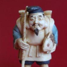 Arte: ANTIGUO NETSUKE DE MARFIL JAPONES .PESCADOR -FIRMADO- FINALES S.XIX - 5 CM . Lote 135323846