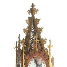 Arte: 105 CM - PIEZA NEOGOTICA S.XIX ESPECTACULAR CAPILLA CATEDRAL EN CAOBA CALADA - URNA FANAL ALTAR. Lote 135527522
