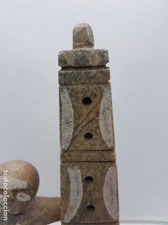 Arte: Original escultura antigua canadiense tallada a mano en piedra de indigena y ofrenda. - Foto 8 - 135944762