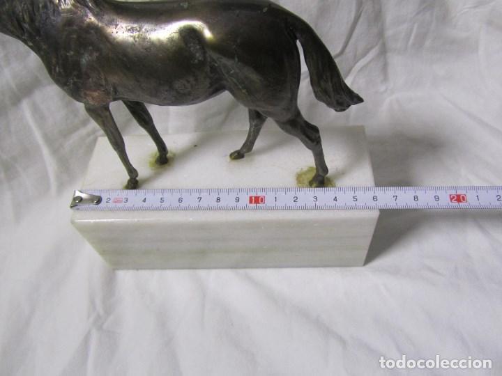 Arte: Figura de caballo en bronce sobre peana de mármol blanco Torres - Foto 3 - 136148186