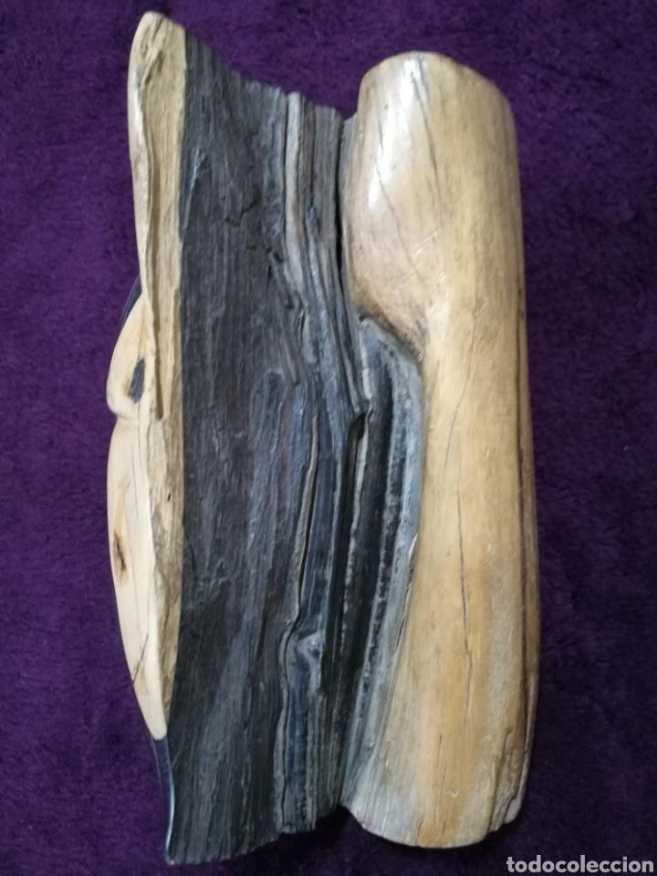 Arte: Figura étnica rostro tallado en madera - Foto 3 - 137140128