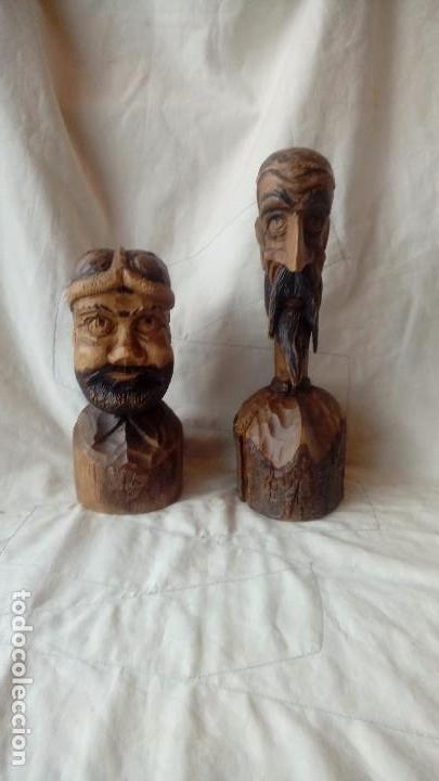 DON QUIJOTE Y SANCHO PANZA BUSTOS DE MADERA (Arte - Escultura - Madera)