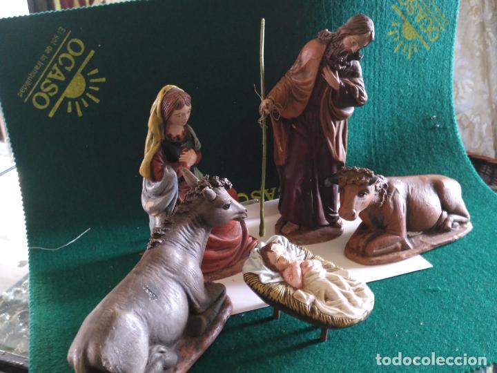 PORTAL DE BELEN CON SELLO NO ARTIGA OLOT TERRACOTA MURCIA VIRGEN SAN JOSE NIÑO JESUS MULA BUEY (Arte - Escultura - Terracota )