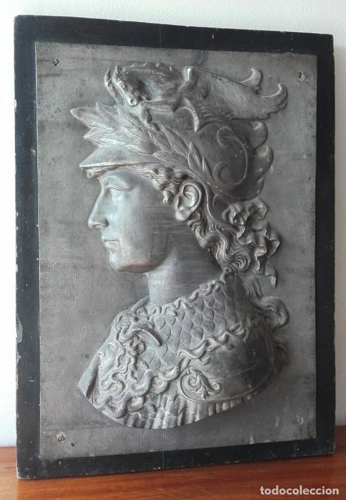 Arte: Relieve en Metal Busto Clásico. Inicios del Siglo XX. Francia - Foto 4 - 69679657