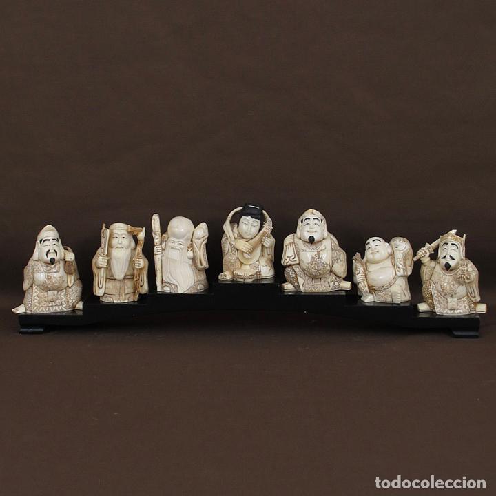 Arte: Juego 7 Dioses de la felicidad 19cm alto de hueso tallado con peana de madera - Foto 2 - 263635100