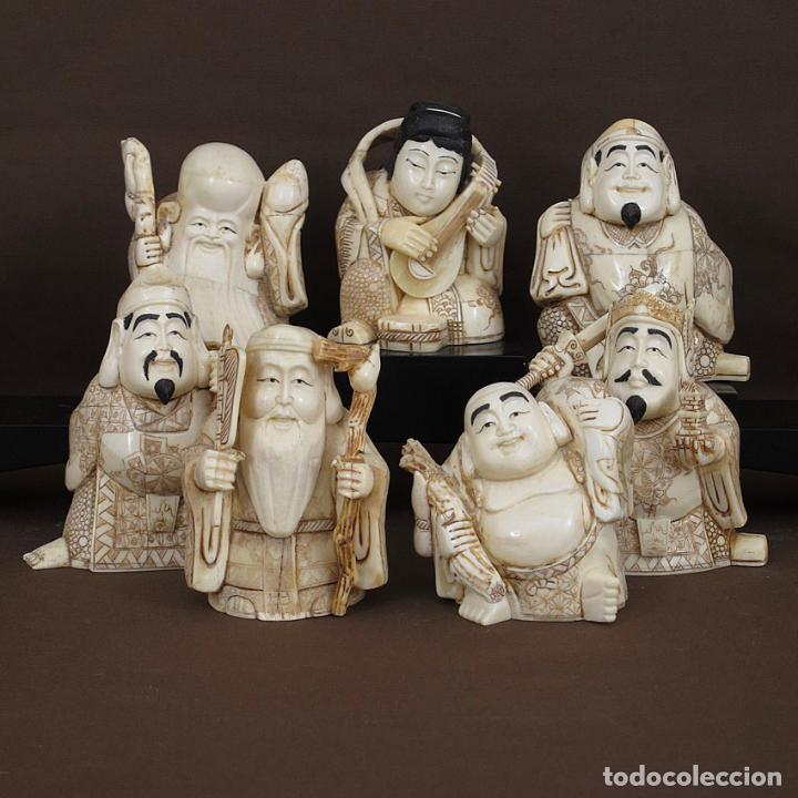 Arte: Juego 7 Dioses de la felicidad 19cm alto de hueso tallado con peana de madera - Foto 3 - 263635100