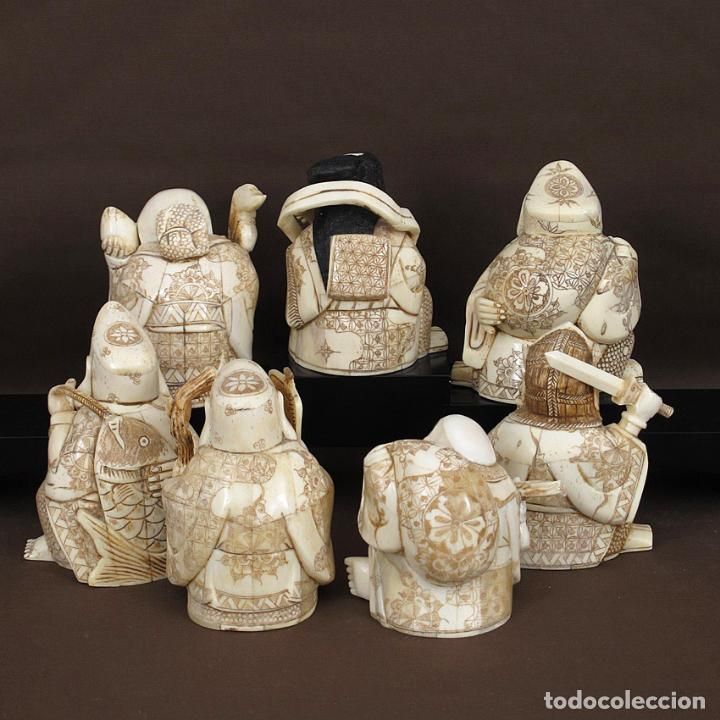 Arte: Juego 7 Dioses de la felicidad 19cm alto de hueso tallado con peana de madera - Foto 4 - 263635100