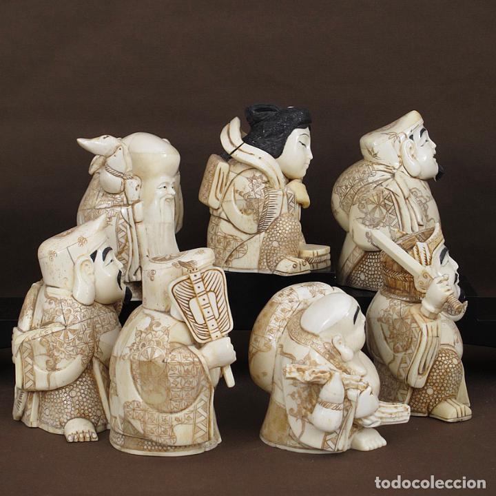 Arte: Juego 7 Dioses de la felicidad 19cm alto de hueso tallado con peana de madera - Foto 5 - 263635100