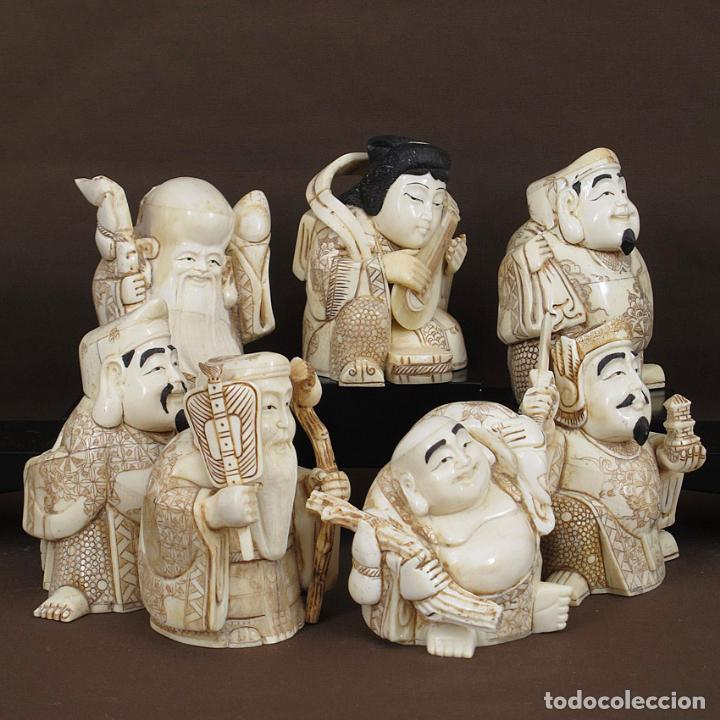 Arte: Juego 7 Dioses de la felicidad 19cm alto de hueso tallado con peana de madera - Foto 6 - 263635100