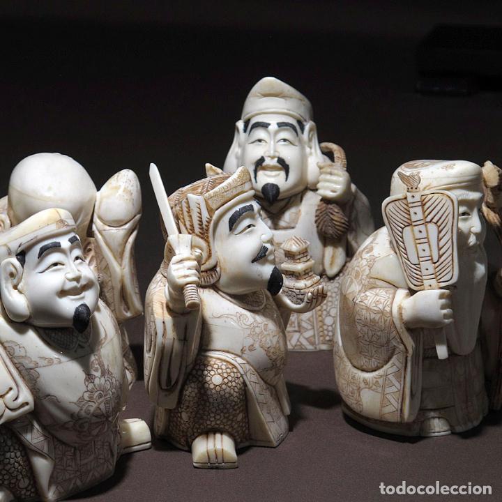 Arte: Juego 7 Dioses de la felicidad 19cm alto de hueso tallado con peana de madera - Foto 7 - 263635100