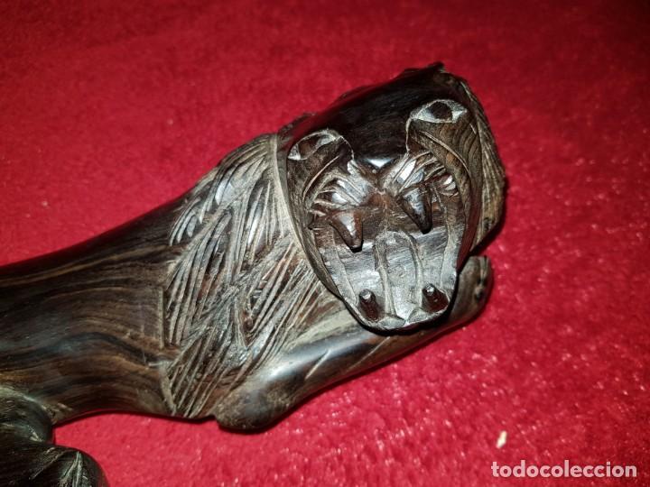 Arte: Precioso leon tumbado tallado en madera de ébano. - Foto 7 - 137942298