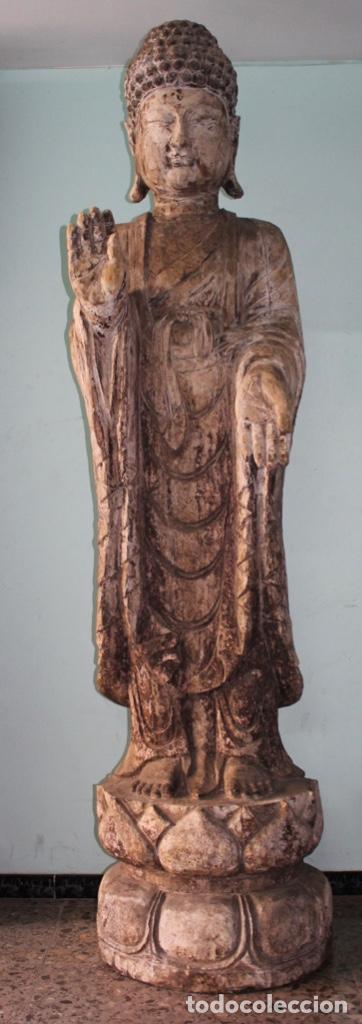 BUDA EN TALLA DE MADERA. FINALES DEL SIGLO XVIII 273 X 70 CMS. (Arte - Escultura - Madera)