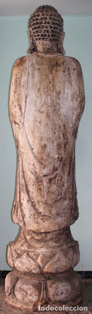 Arte: BUDA EN TALLA DE MADERA. FINALES DEL SIGLO XVIII 273 X 70 CMS. - Foto 7 - 138123198