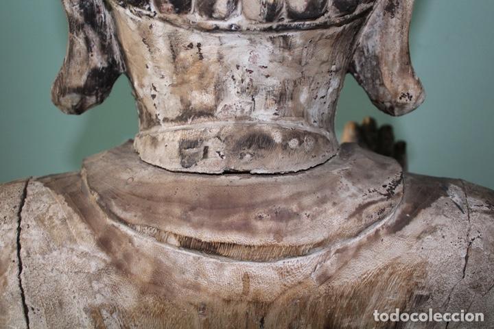 Arte: BUDA EN TALLA DE MADERA. FINALES DEL SIGLO XVIII 273 X 70 CMS. - Foto 10 - 138123198