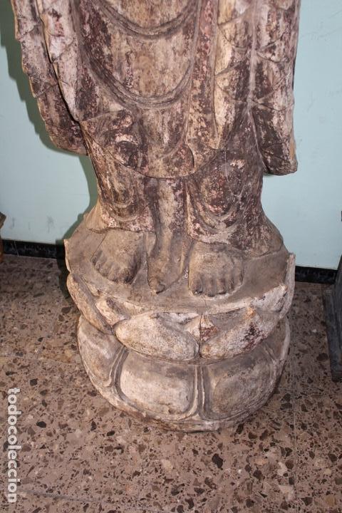 Arte: BUDA EN TALLA DE MADERA. FINALES DEL SIGLO XVIII 273 X 70 CMS. - Foto 3 - 138123198