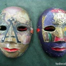 Arte: ANTIGUO PAR DE MASCARAS VENECIANAS DE BRONCE CON ESMALTES - CLOISONE. Lote 139112870