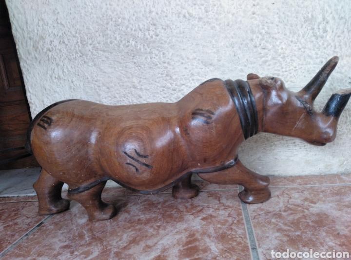 Arte: Talla madera maciza rinoceronte - Foto 2 - 139398340