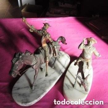 ESCULTURA O FIGURA DE DON QUIJOTE Y SANCHO METAL BRONCE (Arte - Escultura - Hierro)