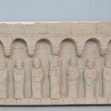 Arte: GRAN PANEL EN ALTORRELIEVE DE CRISTO CON LOS DOCE APOSTOLES. PIEDRA ARTIFICIAL. MODELOS ROMANICOS. Lote 141139594