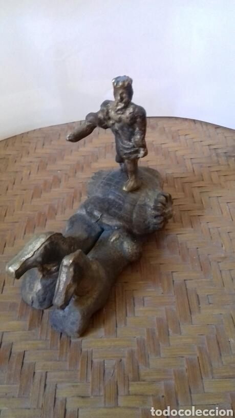 ANTIGUA ESCULTURA DE NEPTUNO EN BRONCE. HECHA A MANO, PARA COLOCAR SOBRE PEANA. MIDE 12 X 10 (Arte - Escultura - Bronce)